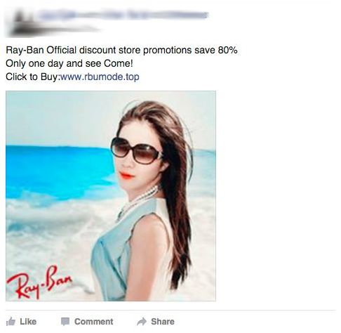 Facebook Ray Ban Wallpost Scam